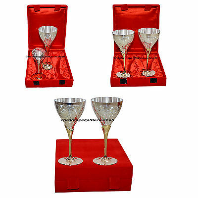 Silver coated Brass Two Tone Wine Glass Set Wholesale Lot Wine Goblet Glasses