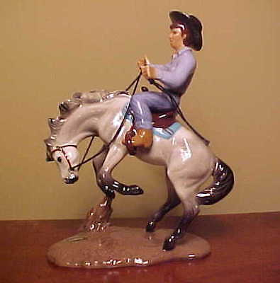 RETIRED Hagen-Renaker Specialty #3233 Bucking Bronco with Rider GREY VARIATION!