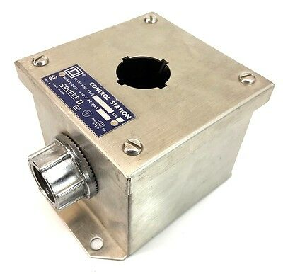 """SQUARE D 9001KYSS1 Stainless Steel 30mm 1-Hole Control Station 3/4"""" Hub"""
