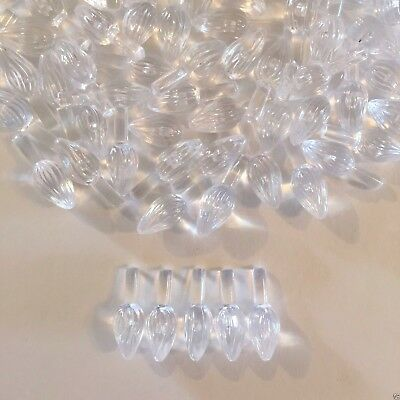 60 CLEAR SMALL TWIST BULBS LIGHTS Ceramic Christmas Tree Replacement Pegs