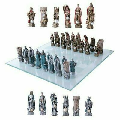 Medieval King Arthur Merlin Dragon Chess Pieces With Glass Board Set Collectible