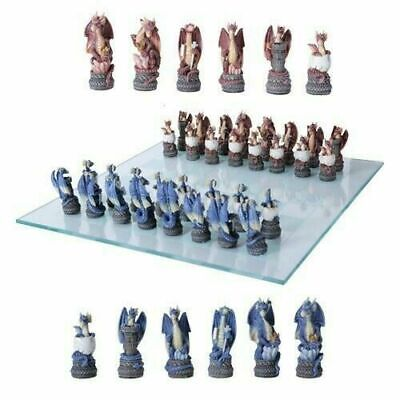 Kingdom of Ancient Dragon Chess Pieces With Glass Board Set Collectible Statue