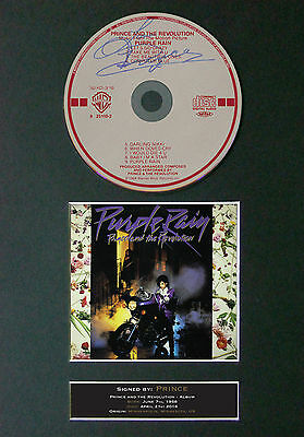 PRINCE Purple Rain Signed Autograph CD & Cover Mounted Reproduction  Print A4