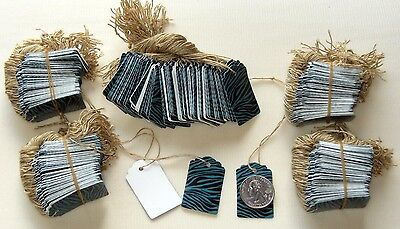 500 Designer Scalloped Turquoise Zebra / White Strung Price Tags w/ string