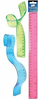 "New Stationery 12 "" Bendy Ruler Flexible School Accessory Office Work Boys Girls"
