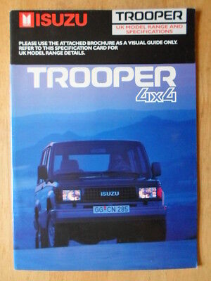 ISUZU TROOPER 4X4 orig 1988-89 UK Mkt Sales Brochure