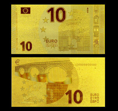 Europe Banknote 10 Euros Gold 24K Design 2015!!