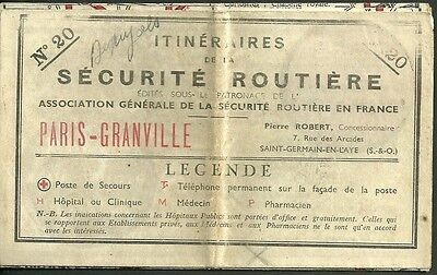 1934 Road map of france to cherbourg Pre WWII