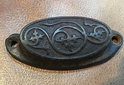 "Patented 1873 Bin Pull About 3"" Cast Iron Drawer Handle Antique Victorian"