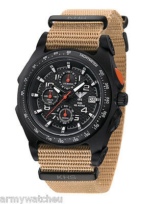 KHS Tactical Watches Black Sentinel Chronograph Stopwatch Army Band Gent's Watch