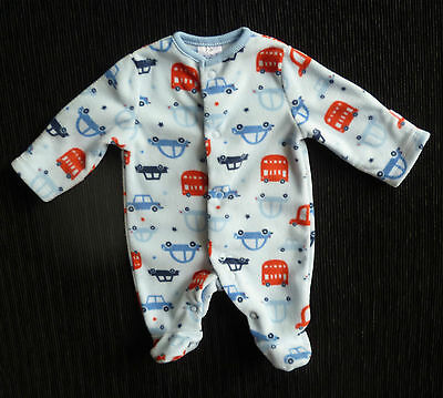 Baby clothes BOY premature/tiny 5lbs/2.3kg F&F blue/red fleecy car sleepsuit