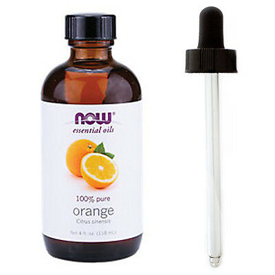 Orange Oil (100% Pure), 4 oz Plus Glass Dropper - NOW Foods Essential Oils