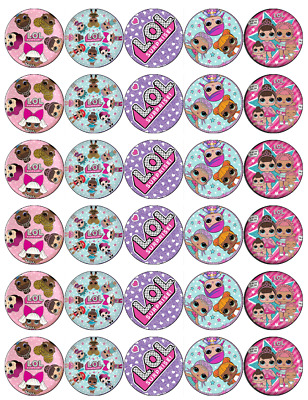 30 x Lol Surprise Dolls Cupcake Toppers Edible Wafer Paper Fairy Cake Toppers