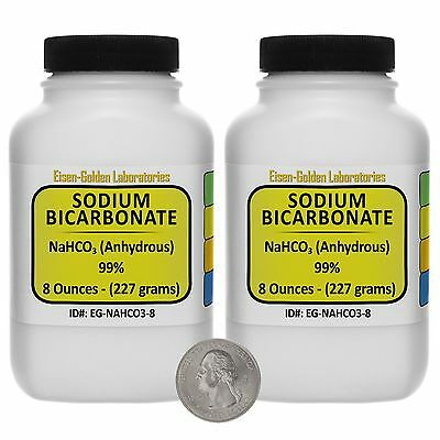 Sodium Bicarbonate [NaHCO3] 99% ACS Grade Powder 1 Lb in Two Plastic Bottles USA