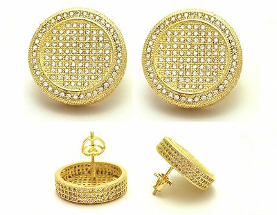 New Mens Iced Out  18K Yellow Gold Finish Lab Diamond Screw Back Stud Earrings