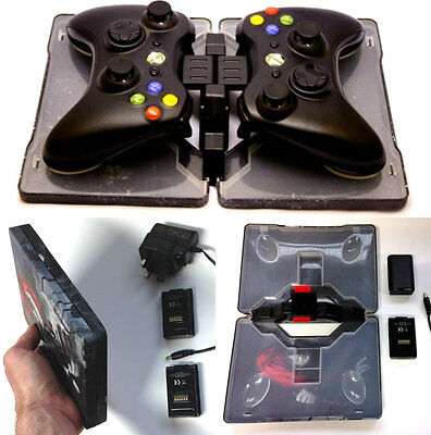 Charger Dock Cradle +2 Rechargeable Batteries for Xbox 360 Wireless Controller