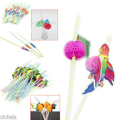 3D Colorful Fruit Pattern Straws Drink Cocktail Bar Party Decoration Drink Straw
