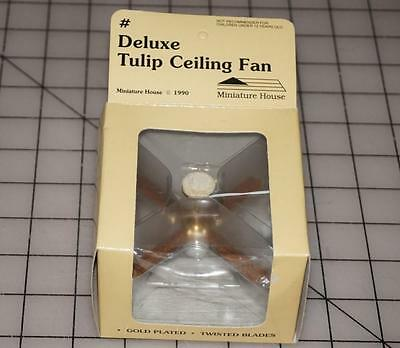 Miniature Dollhouse DELUXE TULIP CEILING FAN Gold Plated Twisted Blades