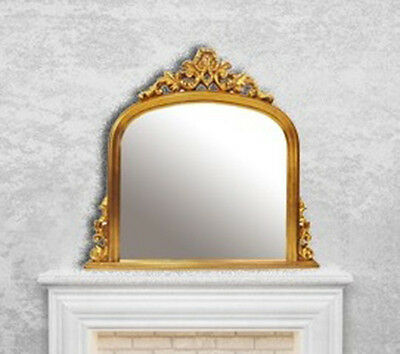 Gold Rectangular Mirror Over mantel French Antique Style Gilt  115x105cm Wall