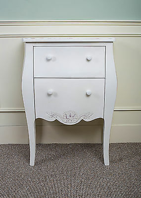 Pair Of White French 2 x Drawer Lamp Table Cabinet Shabby Chic Bedroom Lockers
