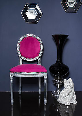 French Louis Side Chair Wooden Silver Pink Antique Style Bedroom Dining Hall