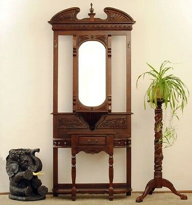Mahogany Hall Table Stand Coat & Hat Display Mirror Coat Umbrella