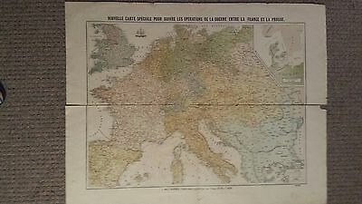 LARGE Colored French Map of French-Persian War Operations - SCARCE, 1870.