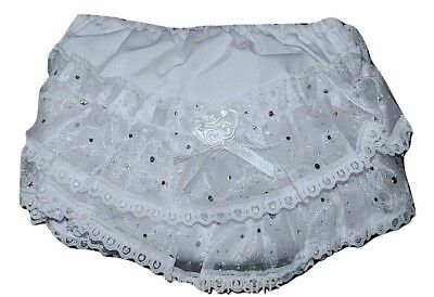 Pex Sparkle Baby Girls Traditional Spanish Style White Frilly Pants/Knickers