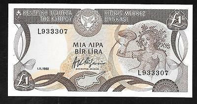 Cyprus Paper Money - Old 1 Lira Note - 1982 - P50 - Nice Uncirculated