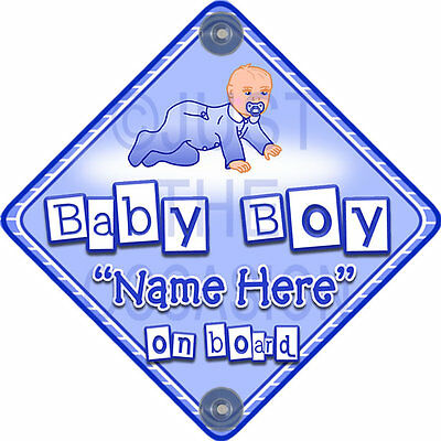 NEW  CRAWLING BABY  Personalised Blue for BOY Baby on Board Car Window Sign