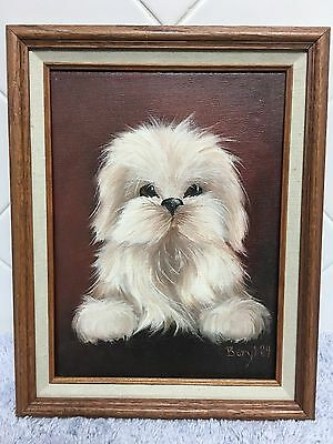 Original Shih Tzu Puppy Dog Painting Canvas Wood Frame Animal Lovers
