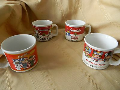 4 vintage campbell soup cups 1993,1997,1999,2003