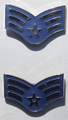 Authentic New Pair USAF E4 Senior Airman Pin On Rank Insignia, USGI