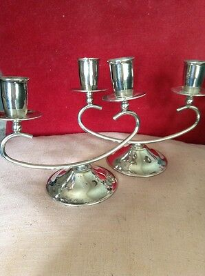 Pair of Double Sconce Modernist Art Deco Style Silver Plated Candlesticks