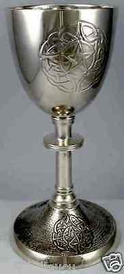 """Heirloom Quality Celtic Knot Interwoven Pentacle Silver Altar Chalice Cup, 8.25"""""""