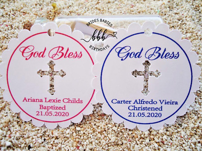 10 White Gift Swing Tags Religious Cross Christening Bomboniere Personalised