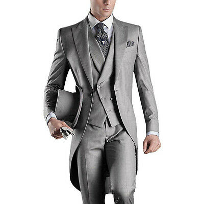 Custom Made Gray Men Suit Groom Tuxedo Formal Wedding Business Suits Tailcoat