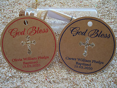 10 Brown Gift Swing Tags Religious Cross Christening Bomboniere Personalised y8