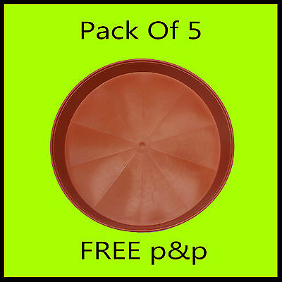 Pack of 5 30cm Terracotta Style Plastic Plant Saucers For Under Round Plant Pots