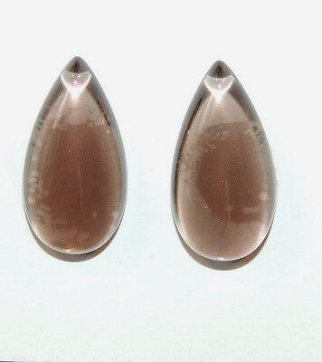 Smoky Quartz Cabochons 21x11mm with 5.5mm dome Set of 2 (10444)