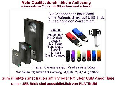 6 Bänder Hi8 Video8 Minidv VHS-C digitalisieren im mp4 Format auf USB Stick inkl