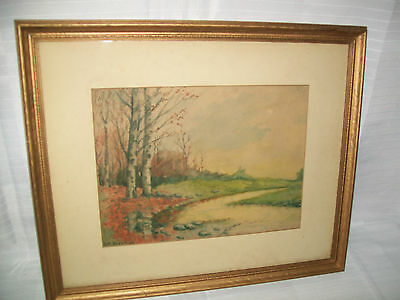 Very Nice Signed Arts & Crafts Watercolor Painting, Signed, Framed & Matted