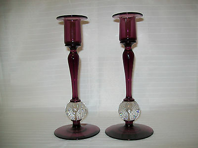 Superb Pair Of Pairpoint Amethyst & Controlled Bubble Candlesticks