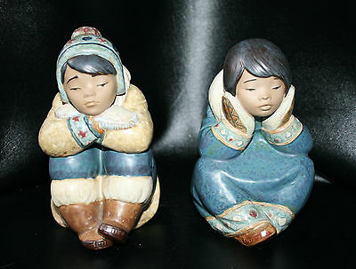 Lladro 2158 2159 PENSIVE ESKIMO BOY ESQUIMO GIRL - Retail $325+ each GRES finish