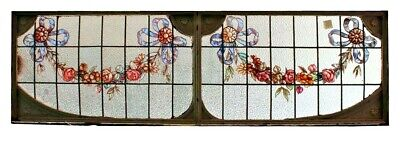 "Antique hand painted and leaded glass transom window with iron frame. 21"" hx 68"