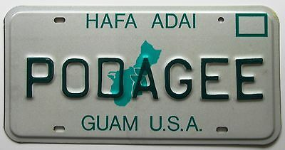 Guam U.S.A. 1991 VANITY License Plate PODAGEE