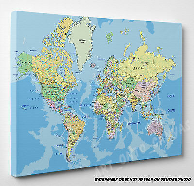 X LARGE World  Map Canvas Picture Print Wall Art A4 A3 A2 A1 Ready To Hang