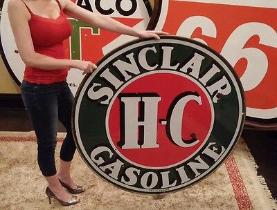 "Original 48"" H-C Sinclair Oil Gasoline Sign Station Porcelain Girl"