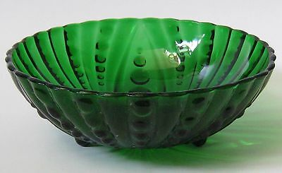 Vintage  Anchor Hocking Inspiration Forrest Green Bubble Glass Bowl Large Size