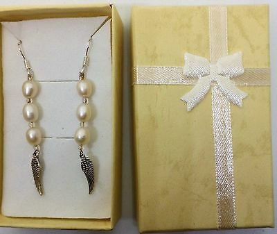 Pearl Angel Wing Earrings,contains blessed by John of God, Casa Crystal Gems